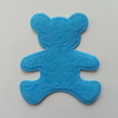 Ours  en feutrine bleu  60*55mm