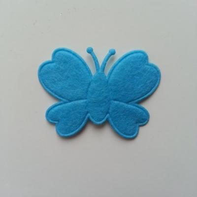 Papillon  en feutrine  bleu 45*35mm