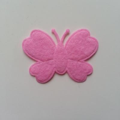 Papillon  en feutrine  rose  45*35mm