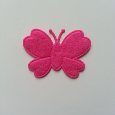 Papillon  en feutrine  rose fuchsia 45*35mm