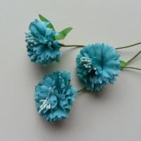 lot de 3 fleurs en tissu et pistils sur tige 40mm bleu turquoise