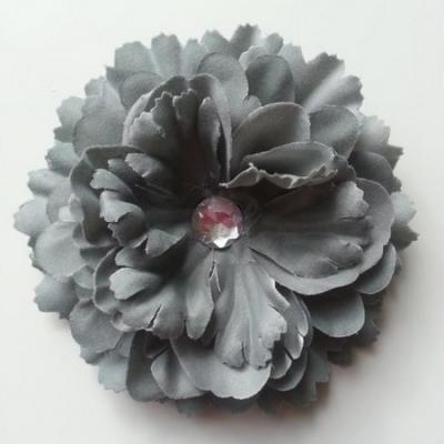 Grande fleur en tissu 110mm avec strass gris