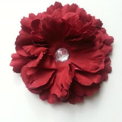 Grande fleur en tissu 110mm avec strass bordeaux