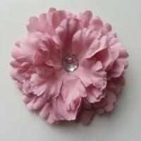 Grande fleur en tissu 110mm avec strass vieux rose