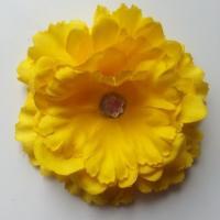 Grande fleur en tissu 110mm avec strass jaune