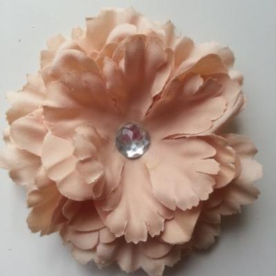 Grande fleur en tissu 110mm avec strass beige