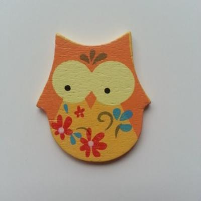 Hibou chouette en bois 35*40mm orange