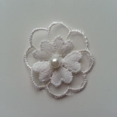 double fleur en dentelle  blanc ivoire 35 mm