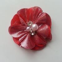 fleur en tissu irisé brillant 50mm rouge argenté