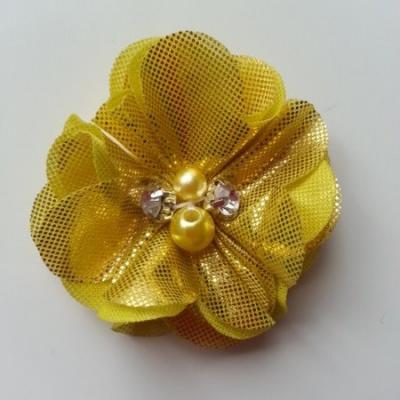 fleur en tissu irisé brillant 50mm jaune