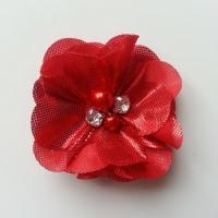 fleur en tissu irisé brillant 50mm rouge