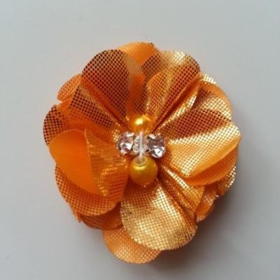 fleur en tissu irisé brillant 50mm orange