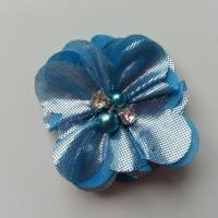 fleur en tissu irisé brillant 50mm bleu