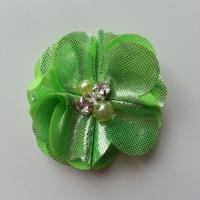 fleur en tissu irisé brillant 50mm vert