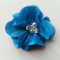 fleur en tissu irisé brillant 50mm bleu turquoise