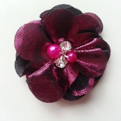 fleur en tissu irisé brillant 50mm rose fuchsia et noir