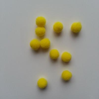 Lot de 10 petits pompons  8mm jaune