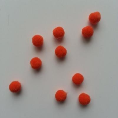 Lot de 10 petits pompons  8mm orange