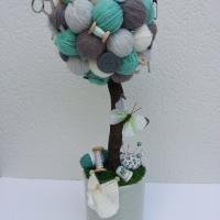 Arbre crochet, tricot, couture vert, gris et ivoire