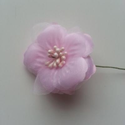 Fleur en tissu et pistils sur tige 5cm rose