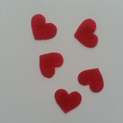 lot de 5 coeurs en feutrine autocollante rouge 20*18mm
