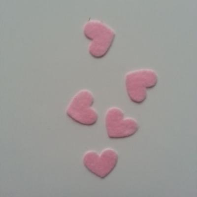 lot de 5 coeurs en feutrine autocollante rose 20*18mm