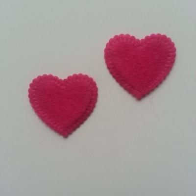 Lot de 2 appliques coeur feutrine 25*25mm rose fuchsia