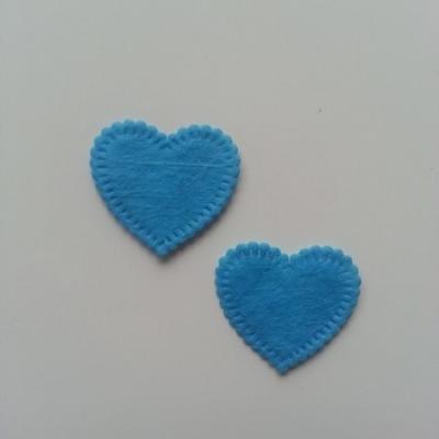 Lot de 2 appliques coeur feutrine 25*25mm bleu