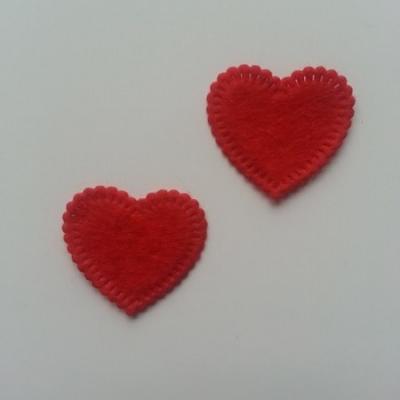 Lot de 2 appliques coeur feutrine 25*25mm rouge