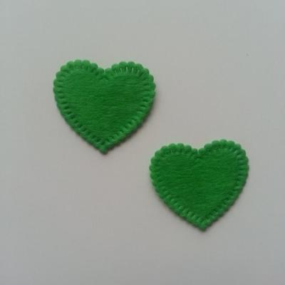 Lot de 2 appliques coeur feutrine 25*25mm vert