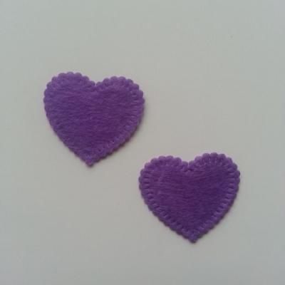 Lot de 2 appliques coeur feutrine 25*25mm violet
