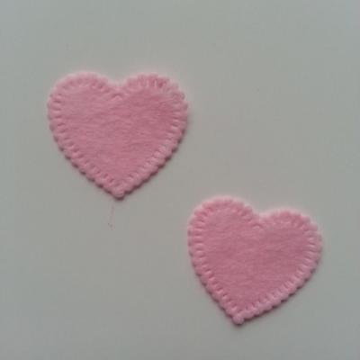 Lot de 2 appliques coeur feutrine 25*25mm rose