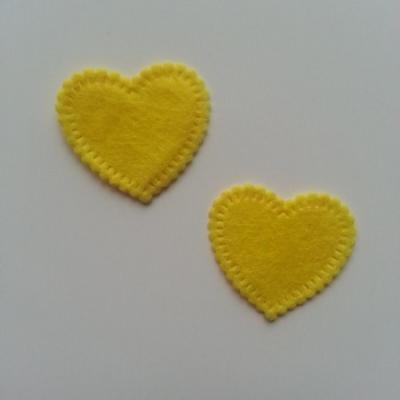 Lot de 2 appliques coeur feutrine 25*25mm jaune