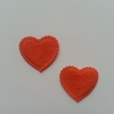 Lot de 2 appliques coeur feutrine 25*25mm orange