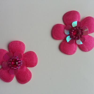 Lot de 2 appliques fleurs avec strass  35mm rose fuchsia