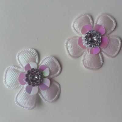 Lot de 2 appliques fleurs avec strass  35mm blanc