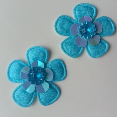 Lot de 2 appliques fleurs avec strass  35mm bleu