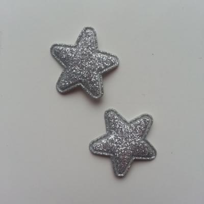 Lot de 2 appliques étoiles matelassées 25*25 mm argent  pailletées