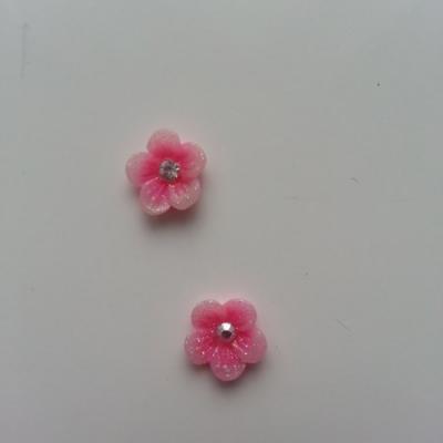 Lot de 2 fleurs  avec strass au centre 12 mm rose