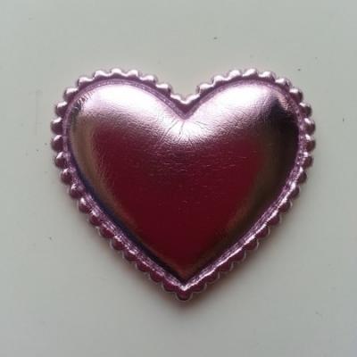 Coeur matelassée et brillant   45*35 mm rose pâle