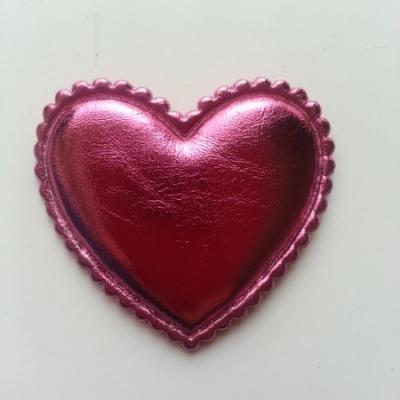 Coeur matelassée et brillant   45*35 mm rose