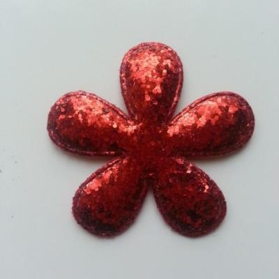 Applique fleur pailletée rouge  60mm