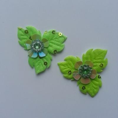 Lot de 2 appliques fleurs avec strass  40mm vert