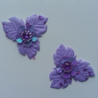Lot de 2 appliques fleurs avec strass  40mm violet