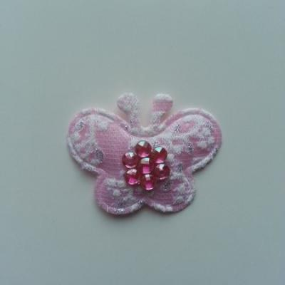 Applique  papillon strass  40*35mm rose