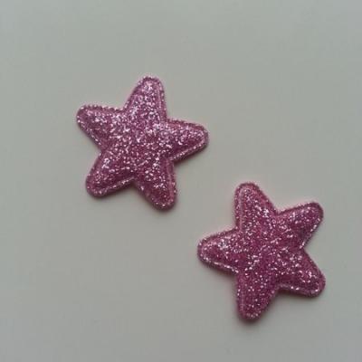 Lot de 2 appliques étoiles matelassées 25*25 mm rose pailletées