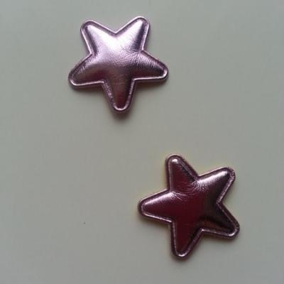 Lot de 2 appliques étoiles matelassées 25*25 mm rose