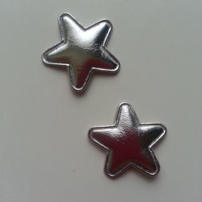Lot de 2 appliques étoiles matelassées 25*25 mm argent