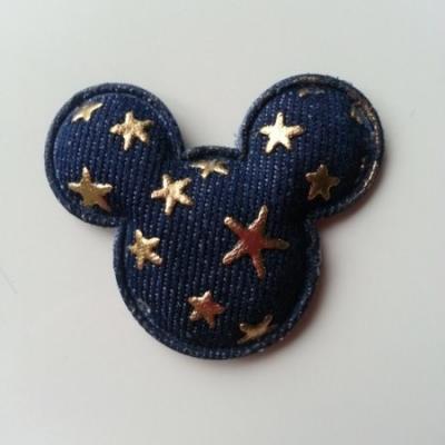 Applique matelassée minnie mickey jean étoiles dorées  45*55 mm