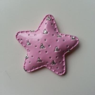 étoile en simili matelassée rose motif coeur argent 50mm